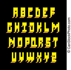 3d, lettertype, type., vector, alfabet