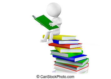 3d, lettura uomo, su, uno, mucchio libri