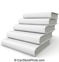 3d, libro, escalera, con, blanco, cubierta