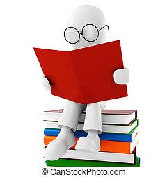 3d, libro, lectura, hombre