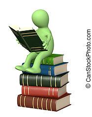 3d, libro, lettura, burattino