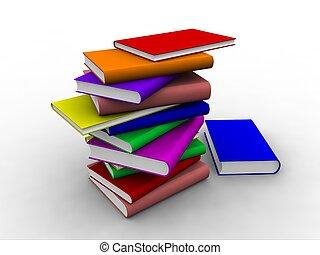 3d, libros, apilado, encima