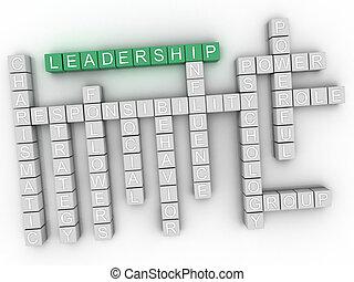 3d, liderazgo, concepto, palabra, nube