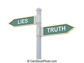 3d lies truth road sign - 3d illustration of roadsign of...