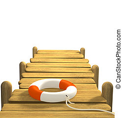 3d, lifebuoy, en, un, muelle de madera