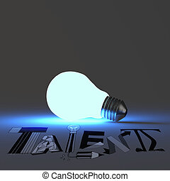 3d light bulb growing design word Talent as concept