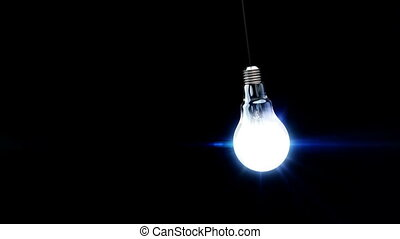 3d light bulb is flickering. Concept idea.