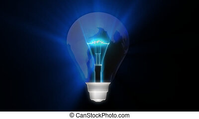 3d Light Bulb Turning with Globe inside