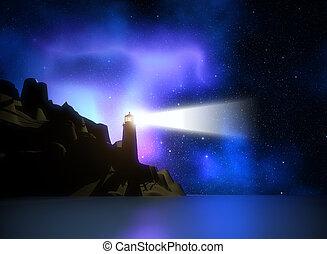 3D lighthouse against a space sky