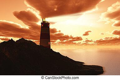 3D lighthouse against a sunset sky