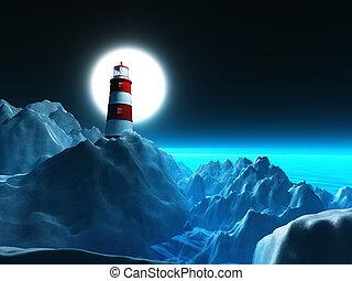 3D lighthouse on rocky cliffs against a night sky