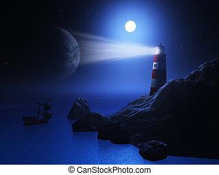 3D lighthouse with ship on sea