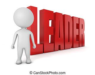 3d, lindo, people-, líder