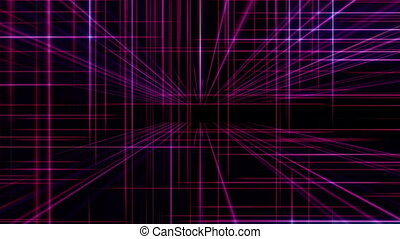 3d line neon cube in space