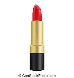 3d, lipstick., vetorial, isolado, white., vermelho, illustration., realístico