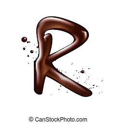 3d liquid chocolate letter R