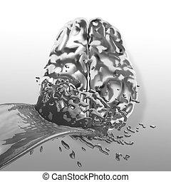 3d liquid metal splash on brain as concept