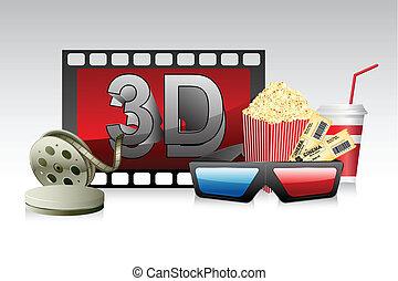 3d, listra, película, óculos