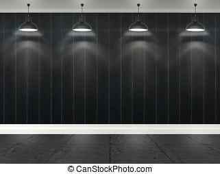 3d, listras, papel parede, com, teto, lâmpadas