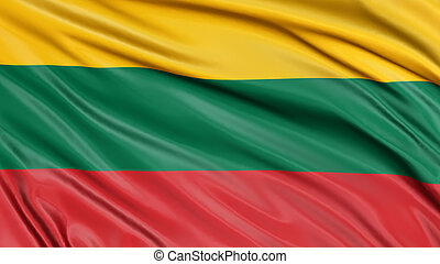 3D Lithuanian flag with fabric surface texture
