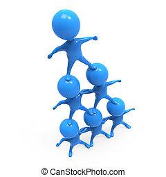 3d Little blue men form a human pyramid