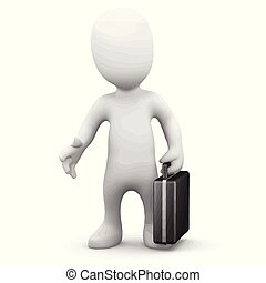 3d Little business person with briefcase