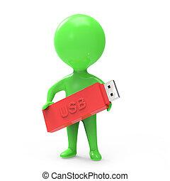 3d Little green man with a USB stick - 3d render of a little...