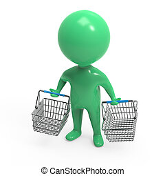 3d Little green man with empty shopping baskets