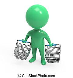 3d Little green man with empty shopping baskets