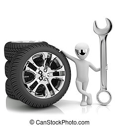 3d little human- car mechanic. 3d image. On a white...