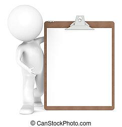 3D Little Human Character and a Clipboard - 3D Little Human...
