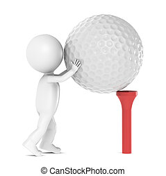 3D little human character and a Golf Ball and Tee