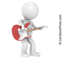 3D Little Human Character and his Red Strat