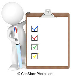 3D little human character holding a Clipboard with Checklist and a Multi Color Pen.