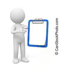 clipboard - 3D little human character holding a clipboard...