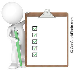 3D little human character holding a Clipboard with Checklist and a Pen. Green color