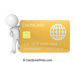3D little human character holding a Credit Card - 3D little...