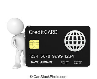 3D little human character holding a Credit Card.
