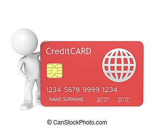 Credit Card - 3D little human character holding a Red Credit...