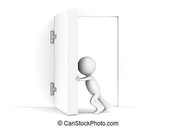3D little human character opens a massive door