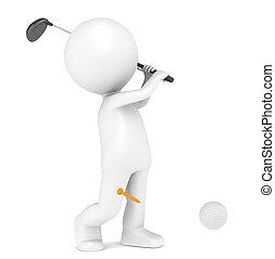 Playing Golf - 3D little human character Playing Golf. Ball ...