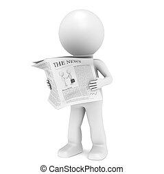 News - 3D little human character Reading a News Paper.
