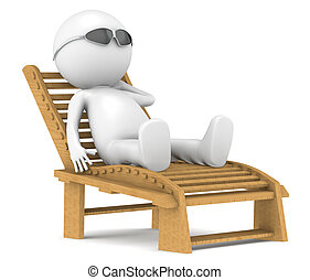 3D little human character relaxing.