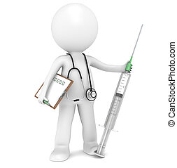 Syringe - 3D little human character The Doctor with a...