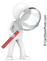 Magnifying Glass. - 3D little human character with a ...