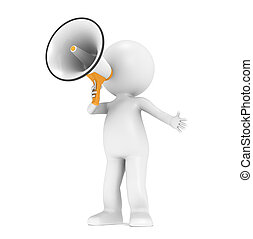 3d little human character with a white and orange megaphone