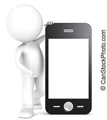 3D little human character with a Smart Phone. Blank Screen for copy space. People series.