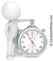 Stopwatch. - 3D little human character with a Stopwatch. ...