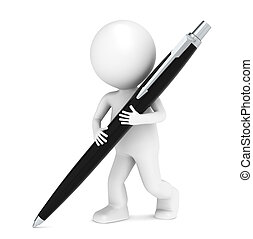 3D little human character writing with a Pen. Black
