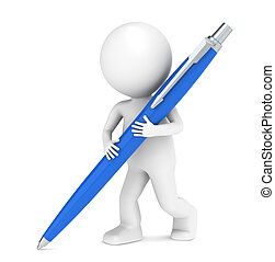 3D little human character writing with a Pen. Blue